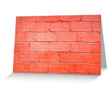 Red background of bricks with a layer of paint closeup Greeting Card