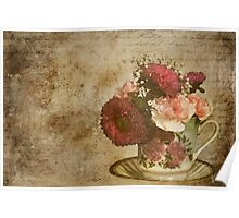 Vintage Cup of Flowers Poster