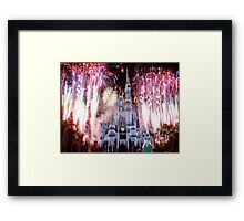 Beautiful Ice Castle with Fireworks Framed Print