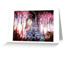 Beautiful Ice Castle with Fireworks Greeting Card