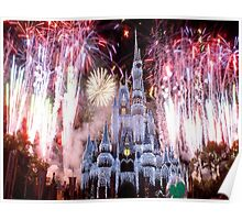 Beautiful Ice Castle with Fireworks Poster