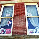 Route 66 - Windows and Drapes by Frank Romeo