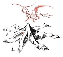 Smaug and the mountain by babsgracie