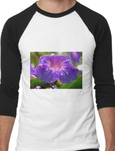 Morning Glory (Ipomoea Purpurea) Petals and Dew Drops  Men's Baseball ¾ T-Shirt