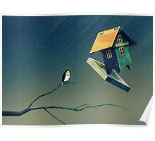 Flying Bird...house Poster