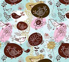 Cute Retro Patterns, Pastel Tones Flowers & Birds by artonwear