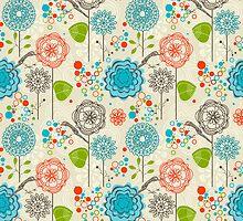 Cute Pastel Tones Retro Floral Pattern by artonwear