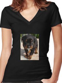 Cute Rottweiler Puppy Lapping Milk Women's Fitted V-Neck T-Shirt