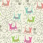 Cute Cartoon Style, Cats  Pattern by artonwear