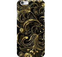 Back and Gold Tones Vintage Floral Swirls iPhone Case/Skin