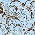 Brown And Blue Tones Vintage Floral Swirls by artonwear