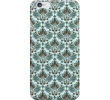 Brown & Blue Vintage Ornate Floral Pattern iPhone Case/Skin