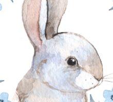 Rabbit and floral wreath Sticker