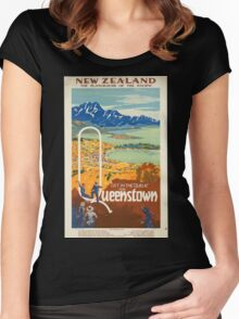 Vintage poster - New Zealand Women's Fitted Scoop T-Shirt