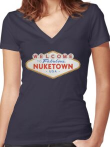welcome to nuketown Women's Fitted V-Neck T-Shirt