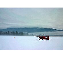 Waiting on Summer - Red Plane on Winter Airfield Photographic Print