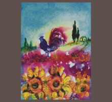 SUNFLOWERS, POPPIES AND BLACK ROOSTER IN BLUE SKY Kids Clothes