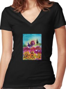SUNFLOWERS, POPPIES AND BLACK ROOSTER IN BLUE SKY Women's Fitted V-Neck T-Shirt