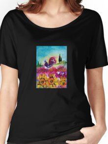 SUNFLOWERS, POPPIES AND BLACK ROOSTER IN BLUE SKY Women's Relaxed Fit T-Shirt