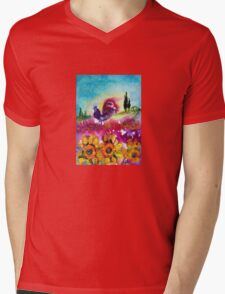 SUNFLOWERS, POPPIES AND BLACK ROOSTER IN BLUE SKY Mens V-Neck T-Shirt
