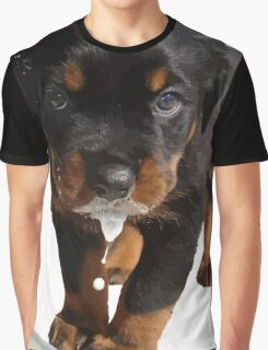Cute Rottweiler Puppy Lapping Milk Vector Graphic T-Shirt