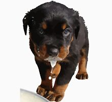 Cute Rottweiler Puppy Lapping Milk Vector Unisex T-Shirt