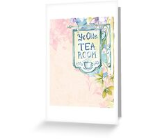 Vintage Antique Ye Olde Tea Room Pink Roses Flower Greeting Card