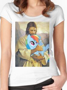 Jesus Loves Rainbow Dash Women's Fitted Scoop T-Shirt