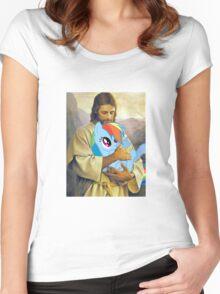 Jesus Loves Rainbow Dash Women's Fitted Scoop T-Shirt
