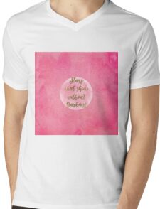 """Stars can't shine without darkness"" quote pink shining watercolor abstract paint Mens V-Neck T-Shirt"