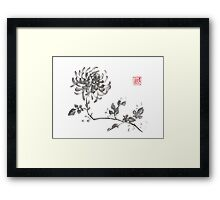 Golden dragon Chrysanthemum sumi-e painting Framed Print
