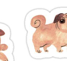 Watercolor Pugs Sticker