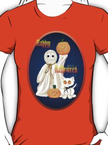 Ghost and Ghosty Kitty Oval T-Shirt