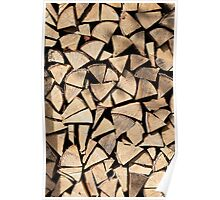 pile of birch firewood Poster