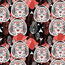 pattern ornamental graphic portraits of tigers by Tanor