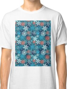 Multi-colored snowflakes form   Classic T-Shirt