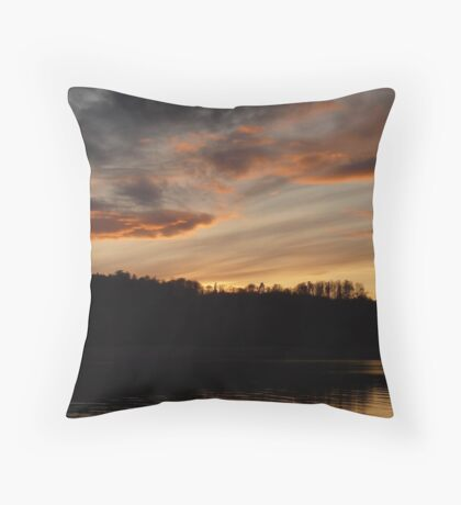 Sunset See Idyll Landscape Sky Clouds Water Throw Pillow