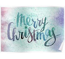 Merry christmas watercolor illustration Poster
