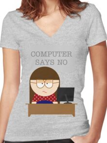 Computer says no Women's Fitted V-Neck T-Shirt