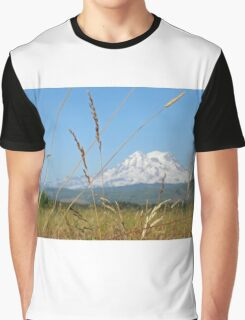 Hay field below Mt. Rainier Graphic T-Shirt