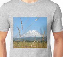 Hay field below Mt. Rainier Unisex T-Shirt
