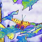 Moth on a Leaf by privera