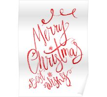 Merry christmas wishes watercolor illustration Poster