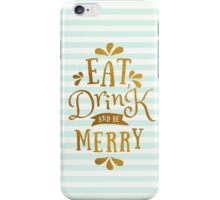 Mint Green Stripes and Gold Foil Text Design  iPhone Case/Skin