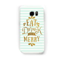 Mint Green Stripes and Gold Foil Text Design  Samsung Galaxy Case/Skin