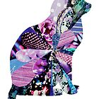 COLLAGE ART PURPLE CAT by artbya
