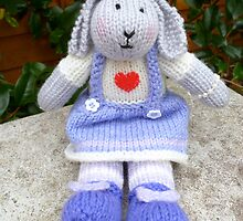 Hand Knitted  Girl  Rabbit by mrsmcvitty