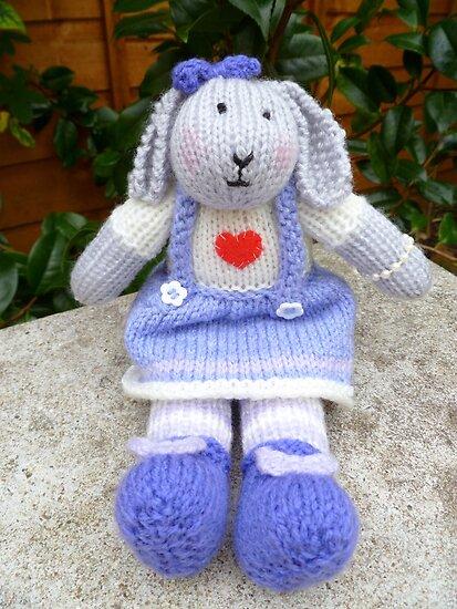 Hand Knitted  Girl  Rabbit by mrsmcvitty