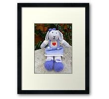 Hand Knitted  Girl  Rabbit Framed Print