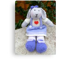 Hand Knitted  Girl  Rabbit Canvas Print